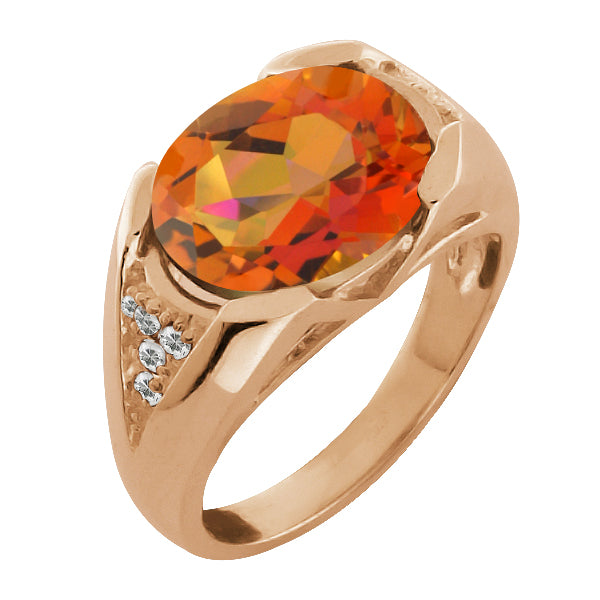 Gem Stone King 4.16 Ct Oval Twilight Orange Mystic Quartz and Topaz Gold Plated Silver Ring