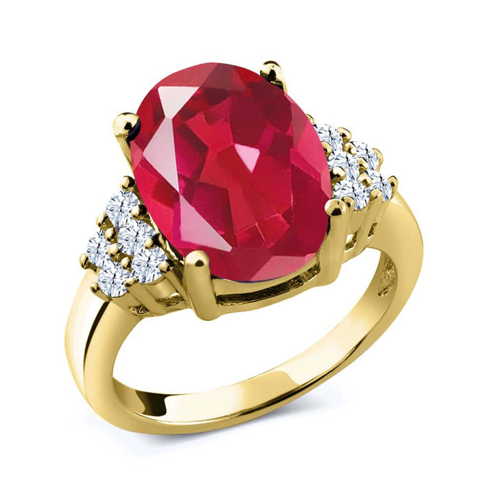 Gem Stone King 4.40 Ct Last Dance Pink Mystic Quartz White Topaz 18K Yellow Gold Plated Silver Ring