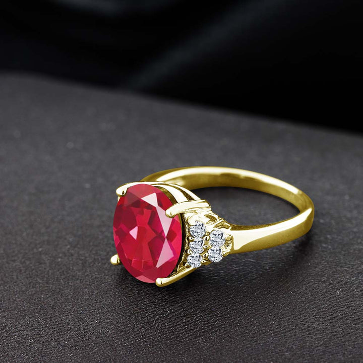 Last Dance Pink Mystic Quartz and White Topaz 18K Yellow Gold Plated Silver Ring