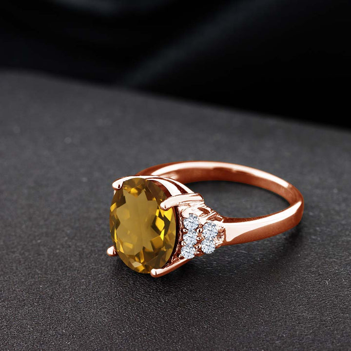 4.40 Ct Whiskey Quartz White Created Sapphire 18K Rose Gold Plated Silver Ring