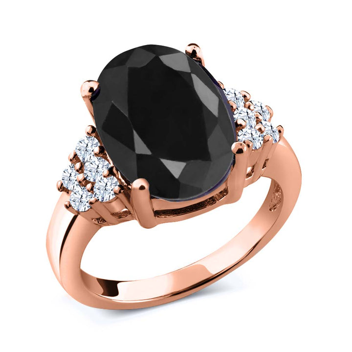 Gem Stone King 4.80 Ct Black Sapphire White Created Sapphire 18K Rose Gold Plated Silver Ring