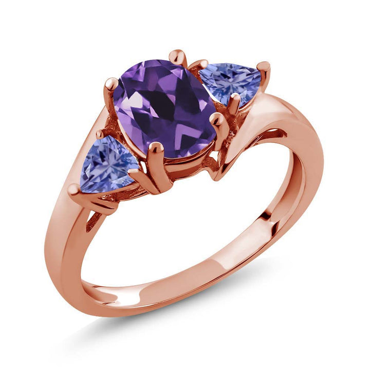 Gem Stone King 1.42 Ct Oval Purple Amethyst Blue Tanzanite 18K Rose Gold Plated Silver Ring