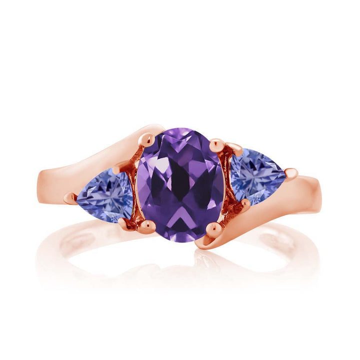 1.42 Ct Oval Purple Amethyst Blue Tanzanite 18K Rose Gold Plated Silver Ring