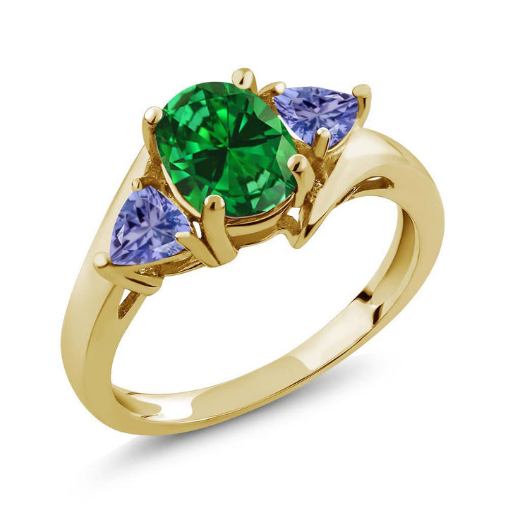 Gem Stone King 2.52 Ct Green Simulated Emerald Blue Tanzanite 18K Yellow Gold Plated Silver Ring