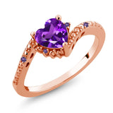 Gem Stone King 0.67 Ct Heart Shape Purple Amethyst 18K Rose Gold Plated Silver Ring
