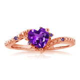 0.67 Ct Heart Shape Purple Amethyst 18K Rose Gold Plated Silver Ring
