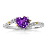0.69 Ct Heart Shape Purple Amethyst Simulated Citrine 925 Sterling Silver Ring