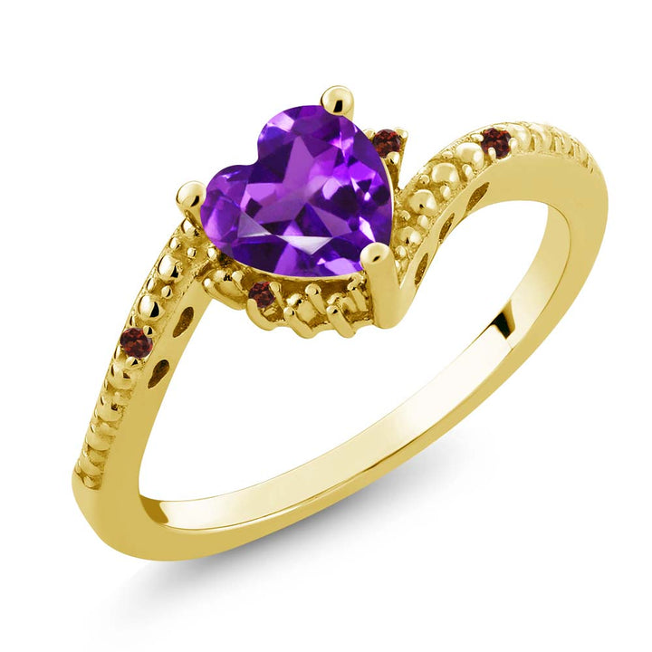 Gem Stone King 0.68 Ct Purple Amethyst Red Garnet 18K Yellow Gold Plated Silver Ring
