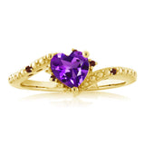 0.68 Ct Purple Amethyst Red Garnet 18K Yellow Gold Plated Silver Ring