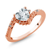 Gem Stone King 0.70 Ct Sky Blue Aquamarine White Diamond 18K Rose Gold Plated Silver Ring