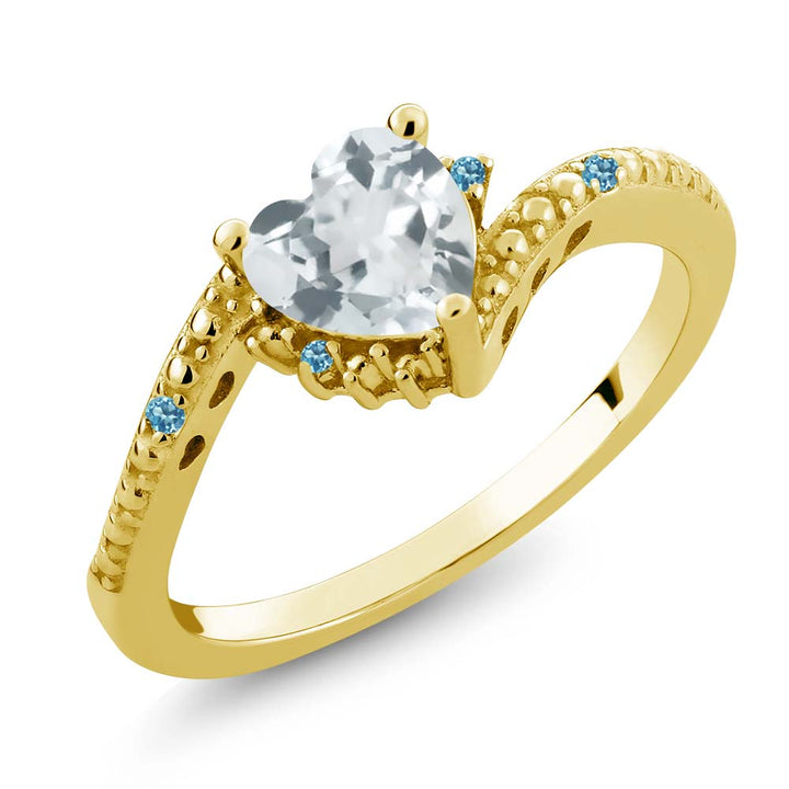 Gem Stone King 0.69 Ct Aquamarine Swiss Blue Simulated Topaz 18K Yellow Gold Plated Silver Ring