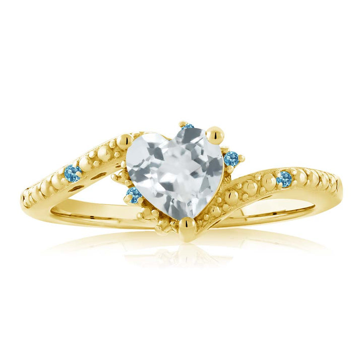 0.69 Ct Aquamarine Swiss Blue Simulated Topaz 18K Yellow Gold Plated Silver Ring