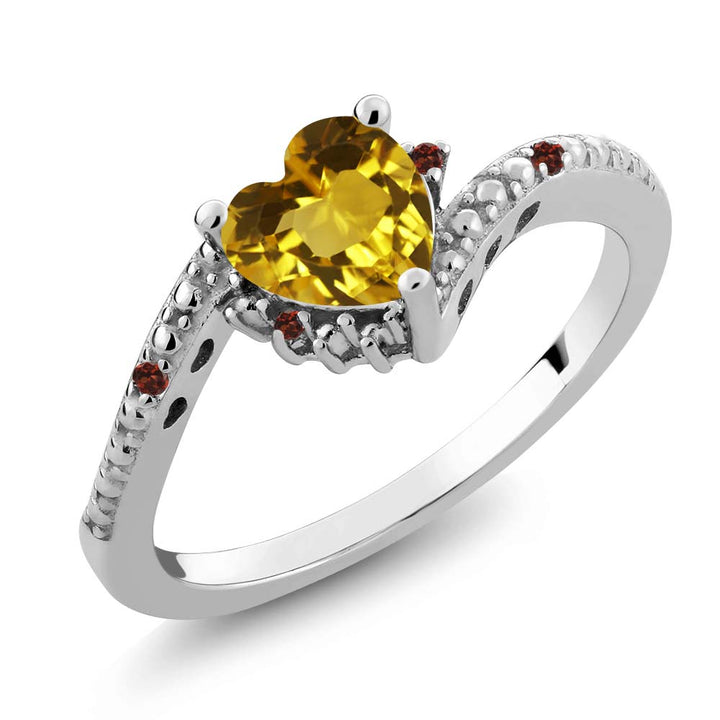 Gem Stone King 0.73 Ct Heart Shape Yellow Citrine Red Garnet 925 Sterling Silver Ring