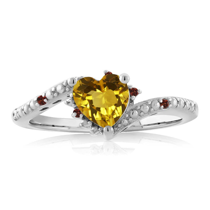 0.73 Ct Heart Shape Yellow Citrine Red Garnet 925 Sterling Silver Ring