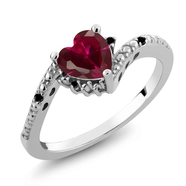 Gem Stone King 0.99 Ct Heart Shape Red Created Ruby Black Diamond 925 Sterling Silver Ring