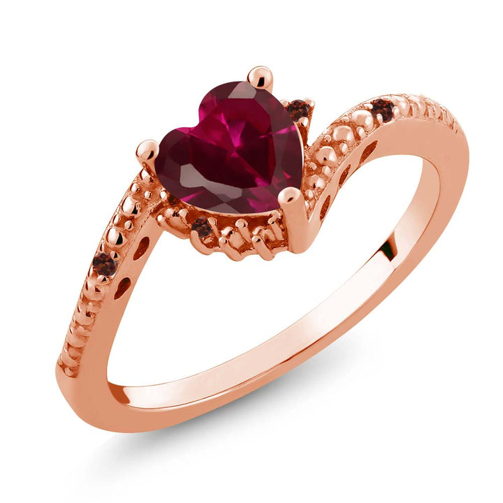 Gem Stone King 0.99 Ct Heart Shape Red Created Ruby Red Garnet 18K Rose Gold Plated Silver Ring