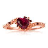 0.99 Ct Heart Shape Red Created Ruby Red Garnet 18K Rose Gold Plated Silver Ring