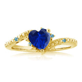 Simulated Sapphire Swiss Blue Simulated Topaz 18K Yellow Gold Plated Silver Ring