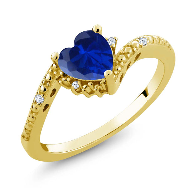 Gem Stone King 0.84 Ct Blue Simulated Sapphire White Topaz 18K Yellow Gold Plated Silver Ring