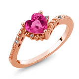 Gem Stone King 0.83 Ct Pink Created Sapphire White Diamond 18K Rose Gold Plated Silver Ring