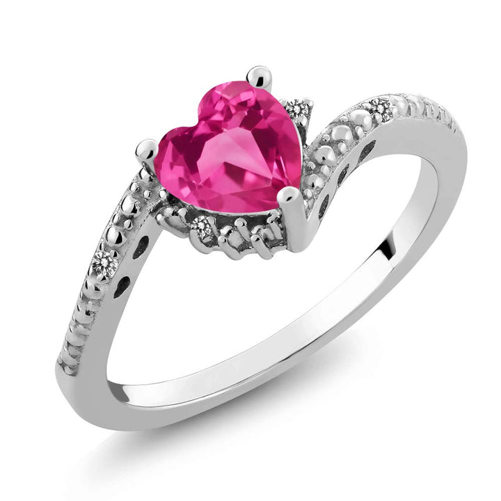 Gem Stone King 0.83 Ct Heart Shape Pink Created Sapphire White Diamond 925 Sterling Silver Ring