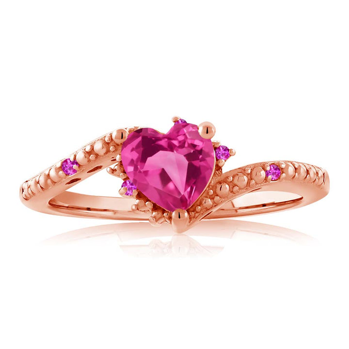 0.83 Ct Pink Created Sapphire Pink Sapphire 18K Rose Gold Plated Silver Ring