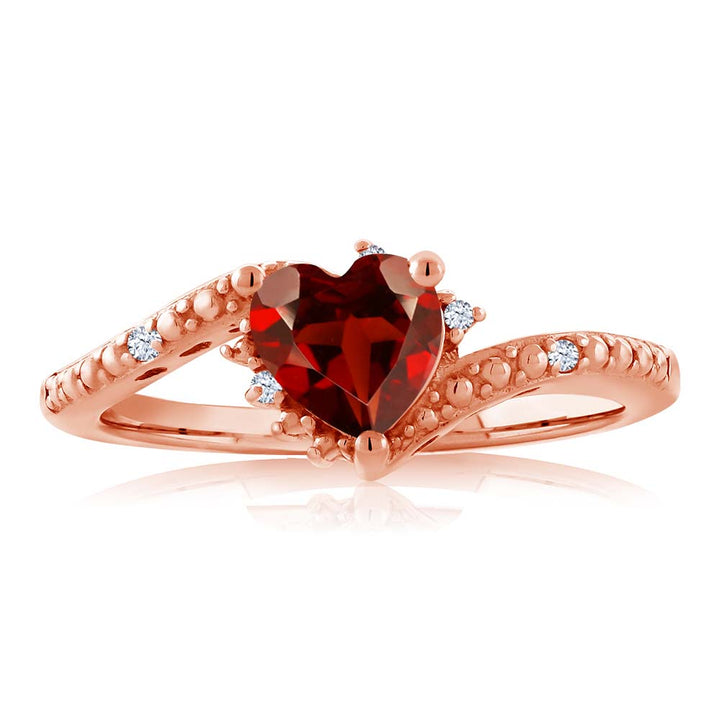 0.95 Ct Heart Shape Red Garnet 18K Rose Gold Plated Silver Ring