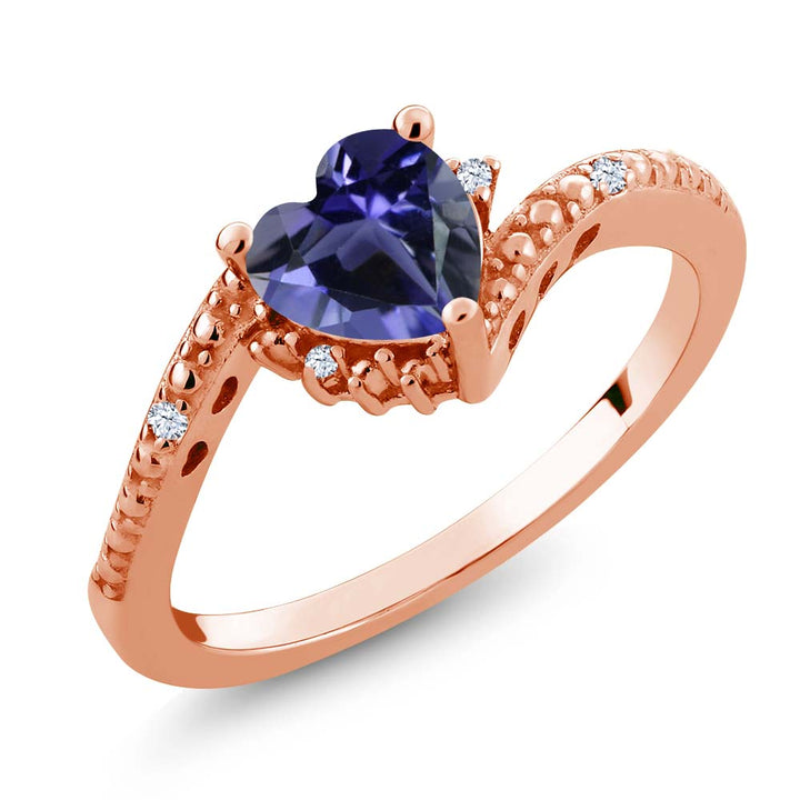 Gem Stone King 0.62 Ct Heart Shape Blue Iolite White Topaz 18K Rose Gold Plated Silver Ring