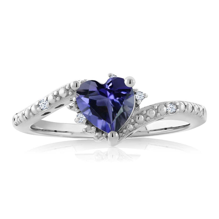 0.62 Ct Heart Shape Blue Iolite White Topaz 925 Sterling Silver Ring