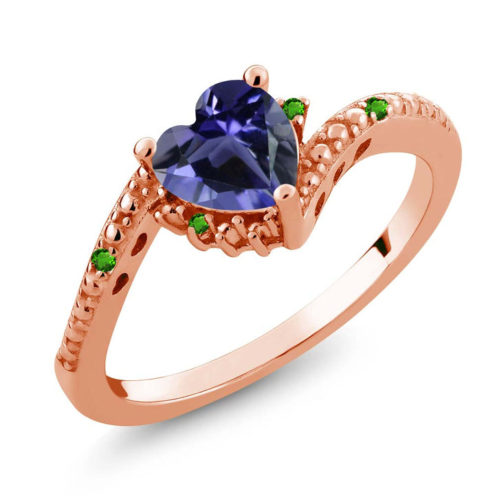 Gem Stone King 0.60 Ct Heart Shape Iolite Simulated Tsavorite 18K Rose Gold Plated Silver Ring