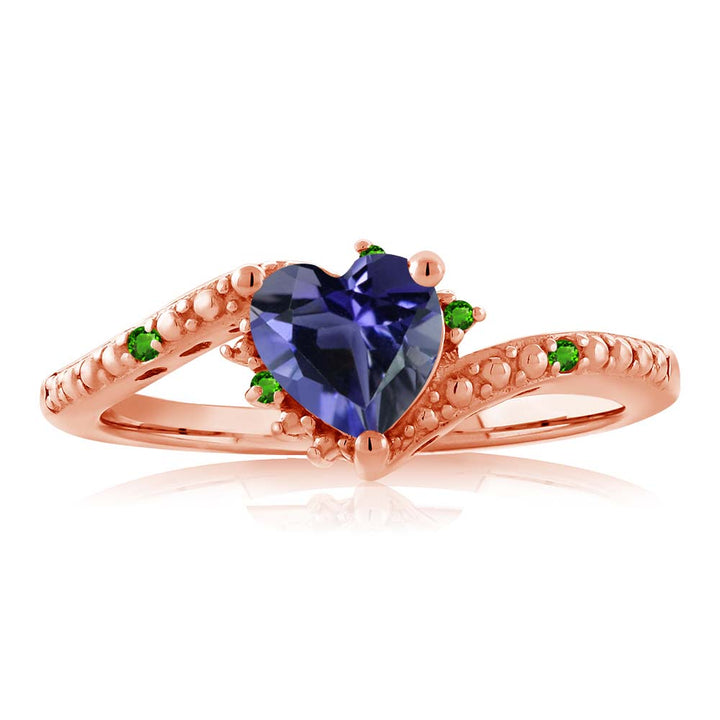 0.60 Ct Heart Shape Iolite Simulated Tsavorite 18K Rose Gold Plated Silver Ring