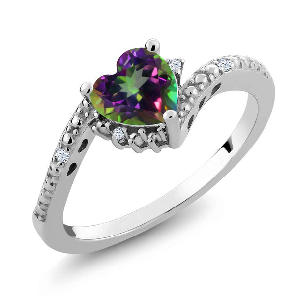 Gem Stone King 0.98 Ct Green Mystic Topaz White Created Sapphire 925 Sterling Silver Ring