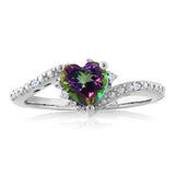 0.98 Ct Green Mystic Topaz White Created Sapphire 925 Sterling Silver Ring