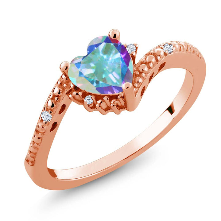 Gem Stone King 0.98 Ct Mercury Mist Mystic Topaz White Created Sapphire 18K Rose Gold Plated Silver Ring