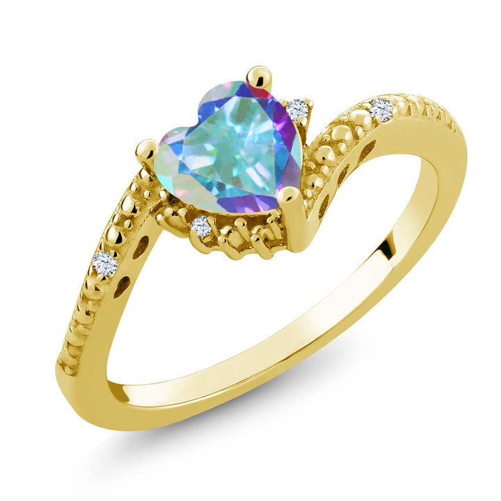 Gem Stone King 1.00 Ct Mercury Mist Mystic Topaz 18K Yellow Gold Plated Silver Ring