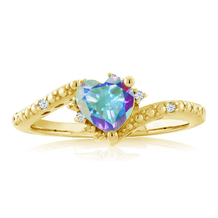 1.00 Ct Mercury Mist Mystic Topaz 18K Yellow Gold Plated Silver Ring