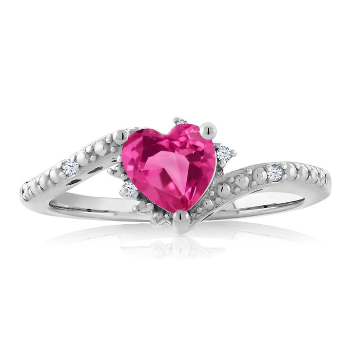 0.99 Ct Heart Shape Pink Mystic Topaz White Topaz 925 Sterling Silver Ring