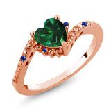 Gem Stone King 0.72 Ct Green Simulated Emerald Blue Sapphire 18K Rose Gold Plated Silver Ring