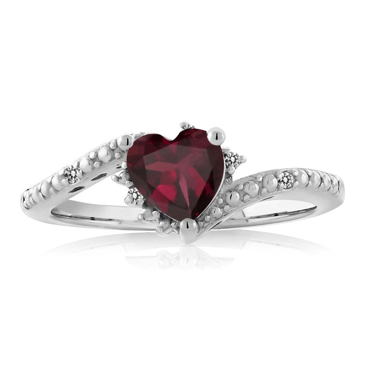 0.75 Ct Heart Shape Red Rhodolite Garnet White Diamond 925 Sterling Silver Ring