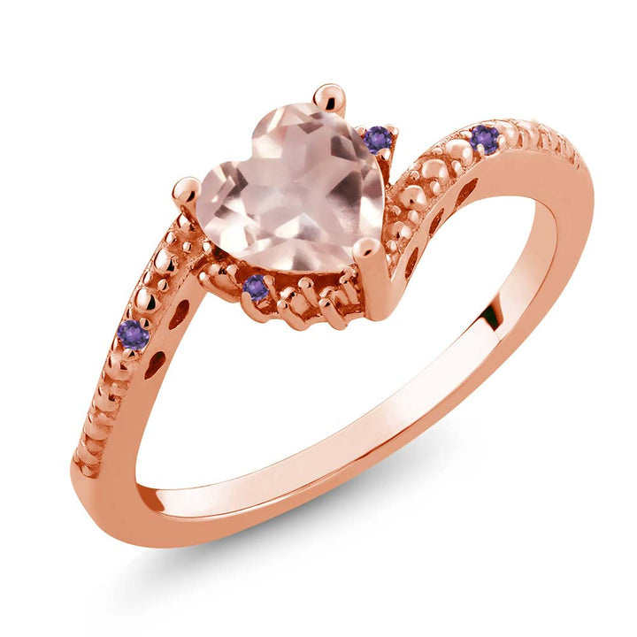 Gem Stone King 0.72 Ct Rose Rose Quartz Purple Amethyst 18K Rose Gold Plated Silver Ring