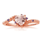 0.72 Ct Rose Rose Quartz Purple Amethyst 18K Rose Gold Plated Silver Ring