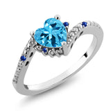 Gem Stone King 0.99 Ct Heart Shape Swiss Blue Topaz Blue Sapphire 925 Sterling Silver Ring