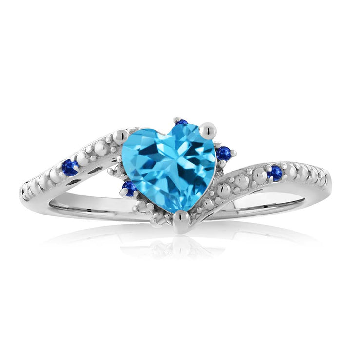 0.99 Ct Heart Shape Swiss Blue Topaz Blue Sapphire 925 Sterling Silver Ring