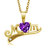 Gem Stone King 0.41 Ct Heart Shape Purple Amethyst 18K Yellow Gold Plated Silver Mothers Day Pendant