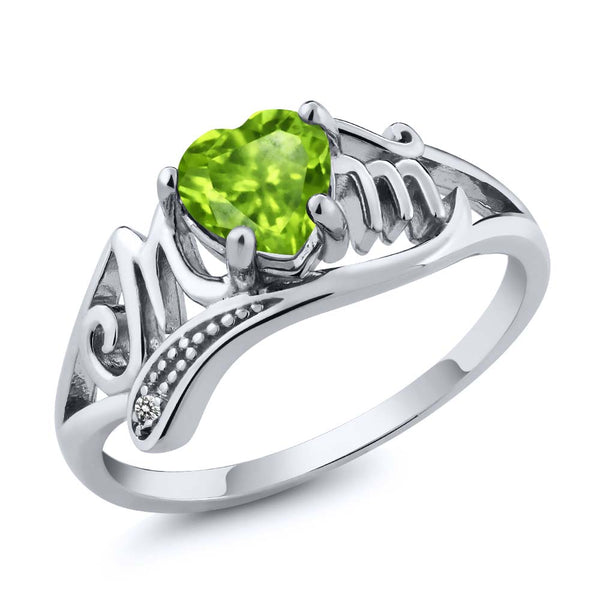 Gem Stone King 925 Sterling Silver Mothers Day Green Peridot and White Diamond Mom MOM Ring (0.52 Ct Heart Shape, Available in size 5, 6, 7, 8, 9)