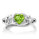 0.52 Ct Heart Shape Green Peridot White Diamond 925 Sterling Silver Mom MOM Ring