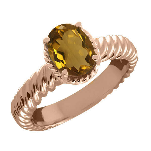 Gem Stone King 1.60 Ct Oval Whiskey Quartz 925 Rose Gold Plated Silver Ring
