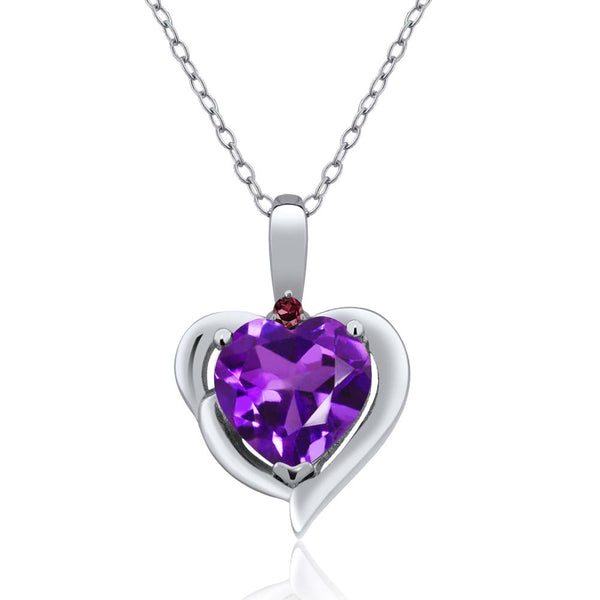 Gem Stone King 1.43 Ct Purple Amethyst Red Rhodolite Garnet 925 Sterling Silver Pendant