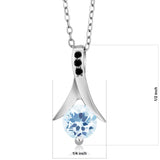 0.95 Ct Round Sky Blue Topaz Black Diamond 925 Sterling Silver Pendant