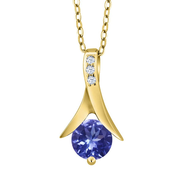 Gem Stone King 0.96 Ct Blue Tanzanite AAAA White Topaz 18K Yellow Gold Plated Silver Pendant